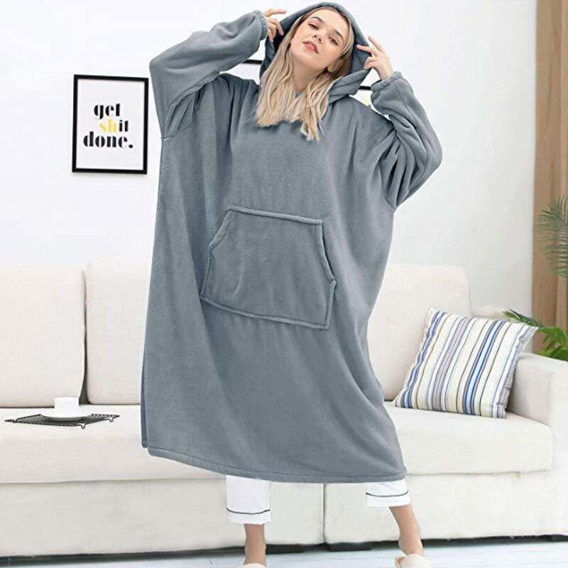 Long Hoodies Women Sweatshirt blanket Winter Plush Fleece Hoodie Blanket With Sleeves Ladies Hooded Pullover Female Sweatshirts