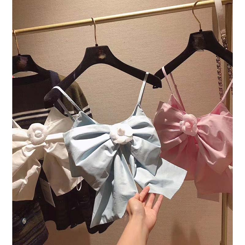 Cosmicchic 2020 Sexy Bow Flower Crop Top Lovely Sweet High Quality Womens Runway Tanks T-Shirt Tee Strapless Clothing Women