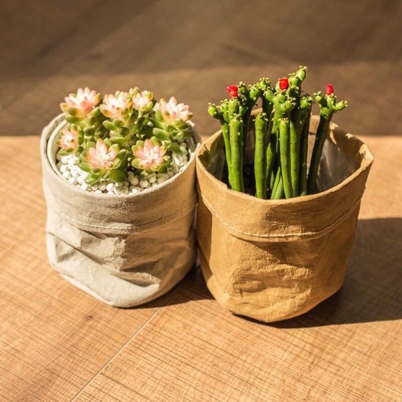 Flower Pots Mini Succulents Planter Pot Washable Kraft Paper Flowerpot Creative Desktop Flower Pots Reuseable Home Storage Bag