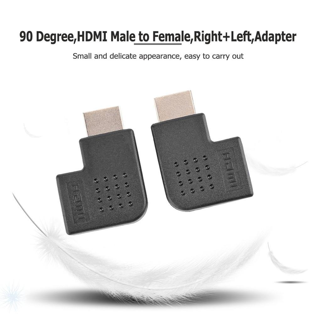1 Pair 90 Degree HDMI Male To Female Converter Right + Left Angle HDMI Adapter Connector Coupler Plug For Computer Projectors