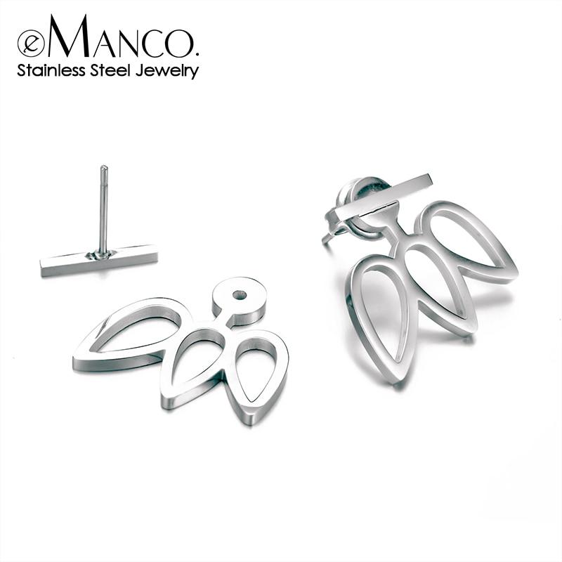 eManco 316L Stainless Steel Stud Earrings for women Trending Lotus Earrings sets women Korean Style Casual Earrings