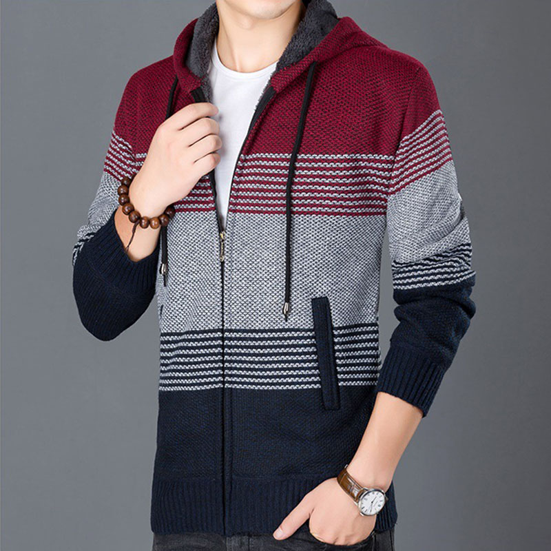 Thick Sweater Coat Men Winter Warm Hooded Cardigan Clothes Men Cashmere Wool Liner Fleece Coats Male Striped Sweaters MZM559