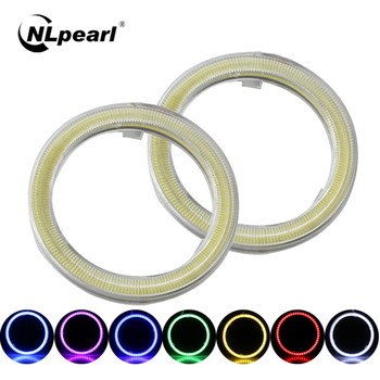 NLpearl 1 Pair Car COB LED Halo Ring DRL Angel Eyes 60/70/80/90/100/110/120mm LED Daytime Running Light for Car Auto Headlights image