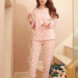 Polka Dot Print Pajama Set Long Sleeve Round Neck Women Two-pieces Sleepwear For Women Two Piece Set Autumn Homewear
