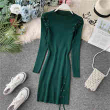 Autumn Casual Women Bodycon Dress Knitted Long Sleeve Half Turtleneck Lace Up Midi Dress Solid Elegant Dresses Robe Femme elegant turtleneck long sleeve bodycon knitted midi dress autumn winter new solid casual high stretchy office lady dress vestido
