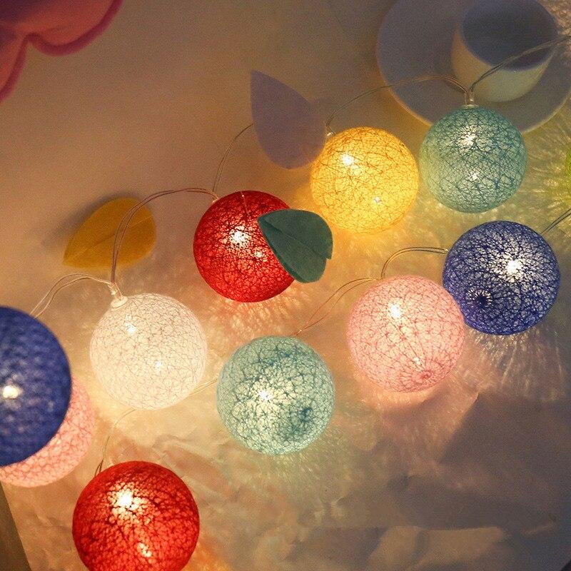 Guirlande lumineuse de noël à Led, boule de coton, décoration pour l'extérieur, jardin, mariage, féerique, noël, 2020