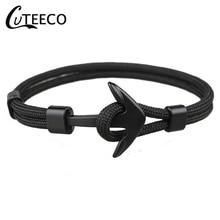 CUTEECO Paracord Bracelet Male Wrap Metal Sport Hooks New Fashion Black Color Anchor Bracelets Men Charm Survival Rope Chain
