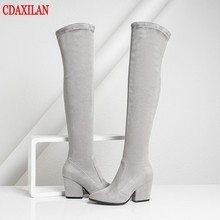 CDAXILAN new arrivals over-the-Knee Boots Women Faux Suede Thigh High Boots 8cm high heel Stretch Slim Ladies Winter boots cdaxilan new arrivals over the knee boots women faux suede thigh high boots 9cm high heel stretch slim ladies winter boots