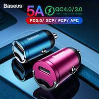 Baseus carga rápida 4.0 3.0 carregador de carro usb para iphone 11 pro max huawei p30 qc4.0 qc3.0 qc 5a rápido pd usb c carregador de telefone do carro