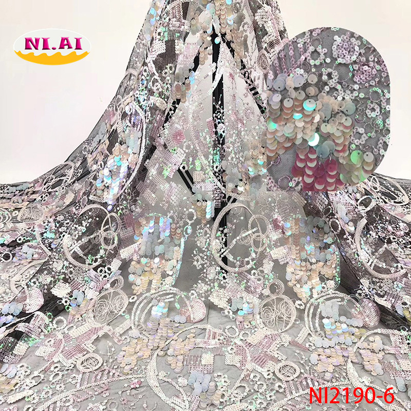 Sequin Lace Embroidery Fabric, Latest Nigerian Lace Fabrics 2019, Luxury Lace Fabric For Wedding Dresses NI2190