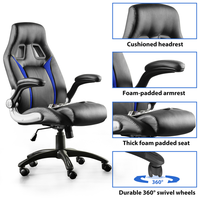 Furgle Gaming Chair Office Chair Swivel Chair Height-Adjustable Gaming Chair PC Chair Ergonomic Executive Chair with Armrests 3