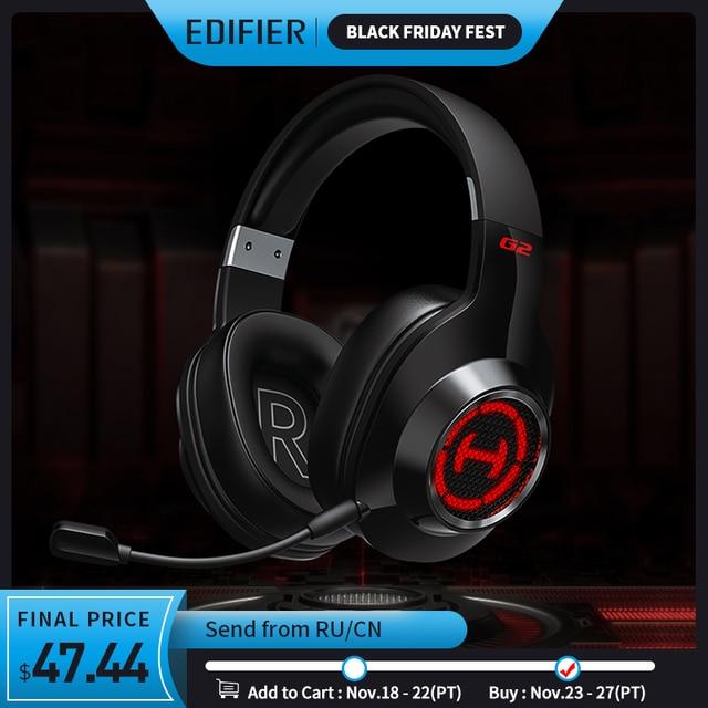 EDIFIER G2II אוזניות משחקי 7.1 סראונד 50mm יחידת נהג RGB דינמי תאורה אחורית מערכת מיקרופון עם רעש ביטול