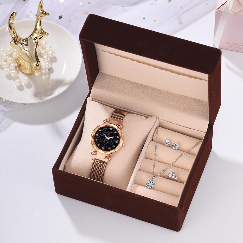 Women Diamond Watch Starry Luxury Bracelet Set Watches Ladies Casual Leather Band Quartz Wristwatch Female Clock Zegarek Damski