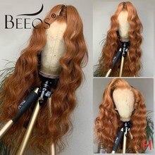 Beeos13 * 6 Kant Voor Menselijk Haar Pruik 150% Gember Oranje Blonde Kleur Body Diepe Golf Diepe Golf Frontale Pruik braziliaanse Remy Haar