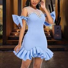 Женское вечернее платье с оборками Сетчатое лоскутное Привлекательное