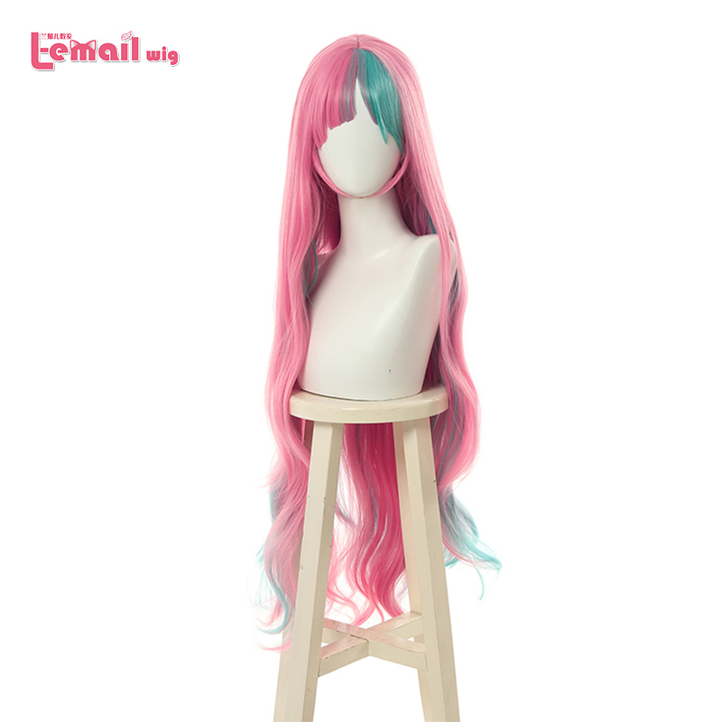 L-email Wig Virtual YouTuber Pinky Pop Hepburn Cosplay Wigs Pink Mix Blue Long Curly Wig Heat Resistant Synthetic Hair Perucas