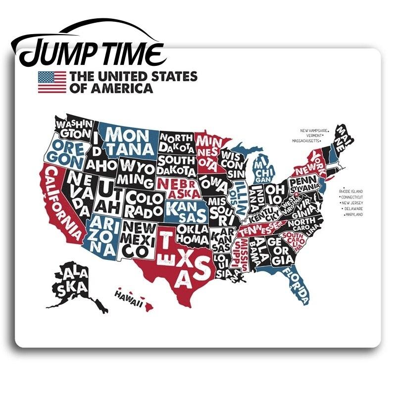 Время скачка для США Америка карта виниловые наклейки для ноутбука подарок грузовик наклейка на бампер, окно водонепроницаемые аксессуары