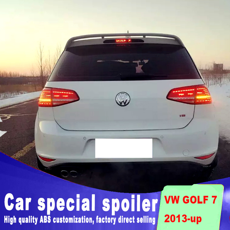 Two-way air <font><b>spoiler</b></font> for <font><b>Golf</b></font> 7 <font><b>MK7</b></font> <font><b>spoiler</b></font> 2013 2014 2015 2016 2017 rear window roof wing High quality ABS by primer DIY paint image