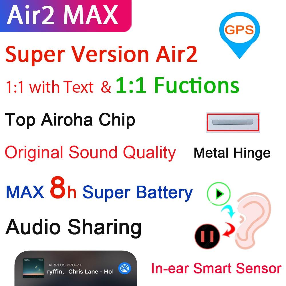 Air2 Max TWS беспроводные Bluetooth-наушники 1:1 Air2 с текстом наушники-вкладыши с супер басами и 8H супер-батареей и лучшим микрофоном PK i99999 Plus TWS