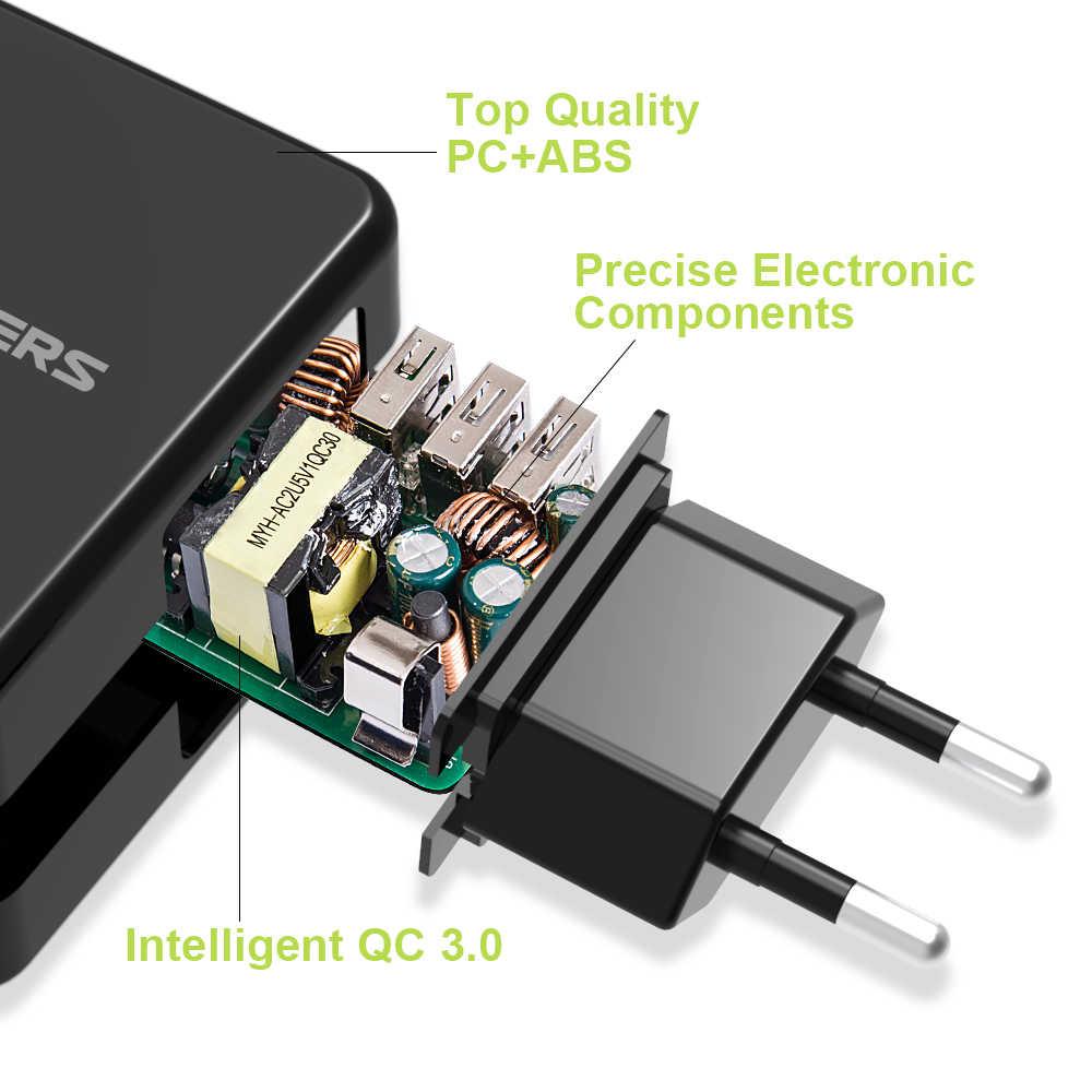 Allforce شاحن الهاتف المحمول 3 USB شاحن الهاتف QC 3.0 شاحن سريع شحن لسامسونج شاومي هواوي HTC ZTE سوني نوكيا.