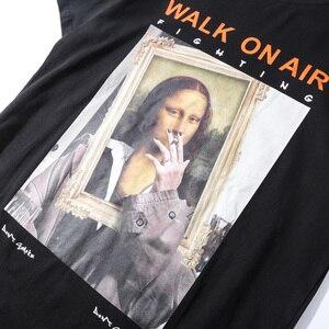 Image 4 - 2019 Men Hip Hop T Shirt Funny Smoking Mona Lisa T Shirt Streetwear Summer Tshirts Short Sleeve Cotton Tops Tees Street Wear