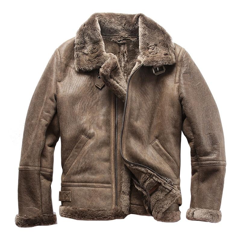 22059 Read Description! Asian Size Super Quality Warm Genuine Sheep Fur Leather Jacket Mens Winter Shearling Fur Jacket