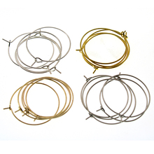 100pcs 25/30/35mm Gold/Silver Plated Earring Clips Ladies Round Loop Hoop Circle Earrings Wire Hooks diy Jewelry Material Z588