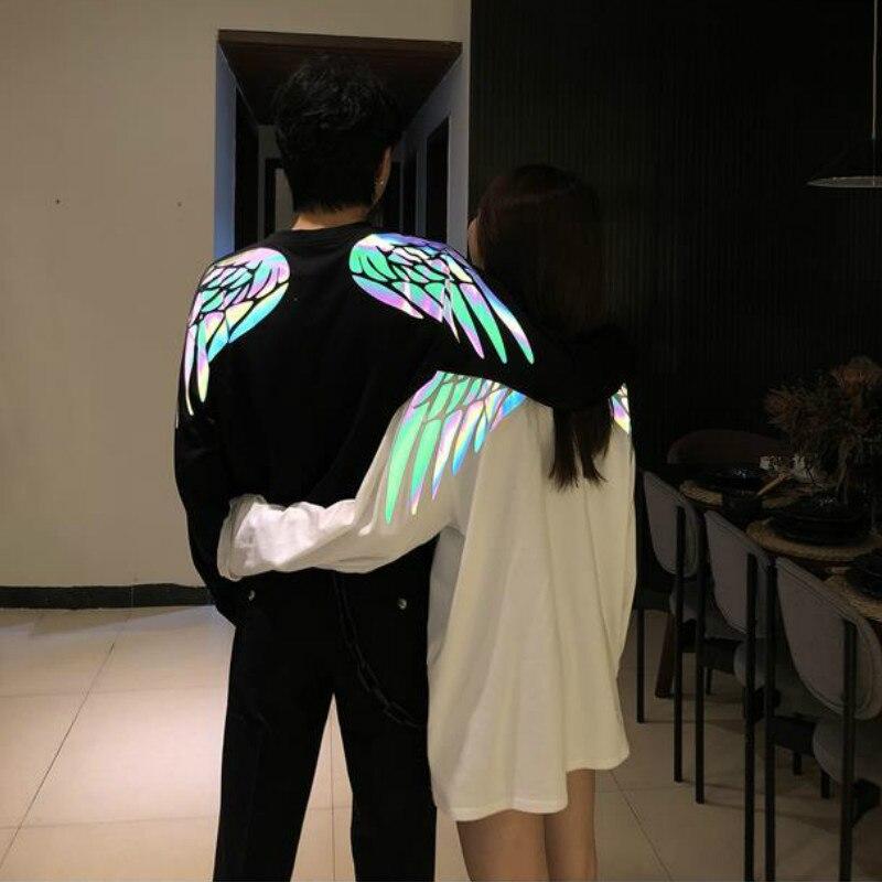 INS Hot Grilfriend Oversize Short/Long Sleeves Couple Clothes Reflective Wing Print Harajuku T Shirt Men Women Fashion Plus Size