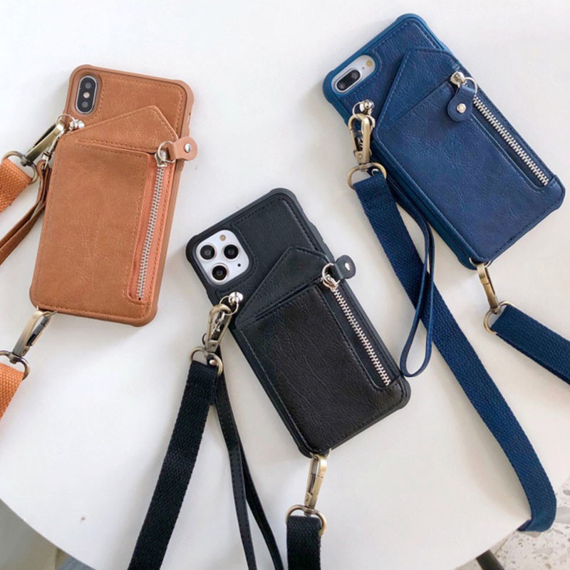 Luxury Leather Wallet Strap Cord Crossbody Case for iPhone 7 8 plus SE X XR XS 12 11 PRO MAX Shoulder Lanyard Card Holder Cover