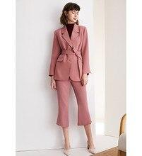 Small suit suit set, autumn pink suit coat + straight pants two piece suit, slim body and waist, showing professional ol style