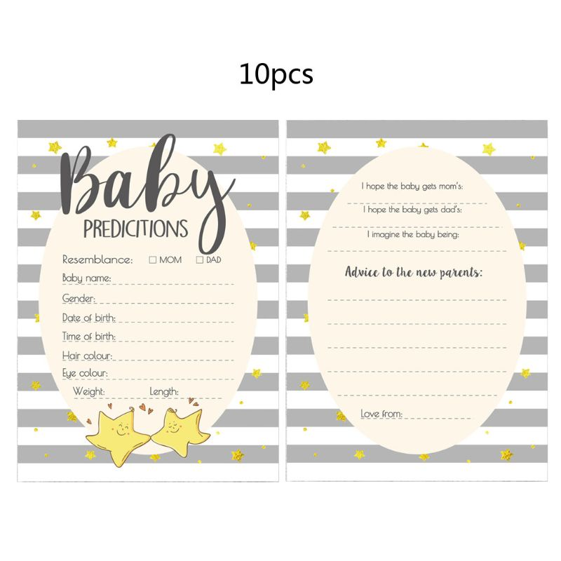 10 Pack Stars Advice And Prediction Cards For Baby Shower Game New Parent Message Advice Book Party Activities Supplies