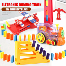 Electric Automatic Laying Domino Brick Train Building Blocks Rocket Toys For Children Colorful Domino Game Educational Toys Gift