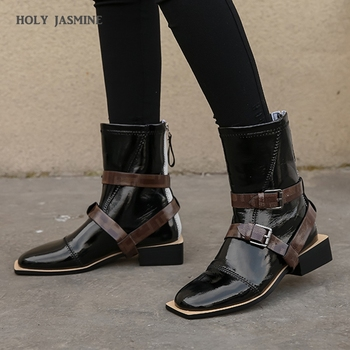 2020 Autumn Winter Fashion Buckle Boots Solid High Quality Genuine Leather Comfortable Round Toe Shoes New Ankle Women's Boots mycolen brand quality genuine leather winter boots comfortable black men shoes men casual handmade round toe zip wear boots