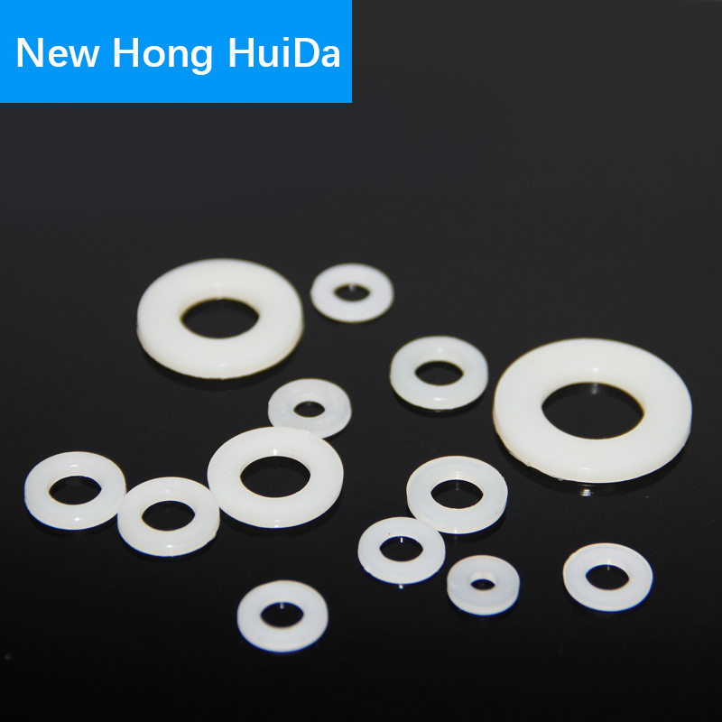 Купить с кэшбэком Black White Nylon Flat Round Washer Plastic Insulation Shim Gasket Seal Ring Spacer M2M2.5M3 M4 M5 M6 M8 M10 M12 M14 M16 M18 M20