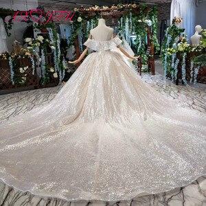Image 2 - AXJFU Luxury princess champagne lace ruffles boat neck beading crystal star sparkly dubai wedding dress 100% real photo1499/1000