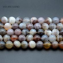 "Gray Botswana Agates Natural Round Loose Beads Stone 15"" Pick 6-10mm Spacer For Charm Bracelet Necklace Jewelry Making"
