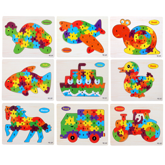 Kids Intelligence Baby Toy Wood Puzzles Cognition English Letter Building Wooden Animal Jigsaw Puzzle Toys for Children Toddler 1