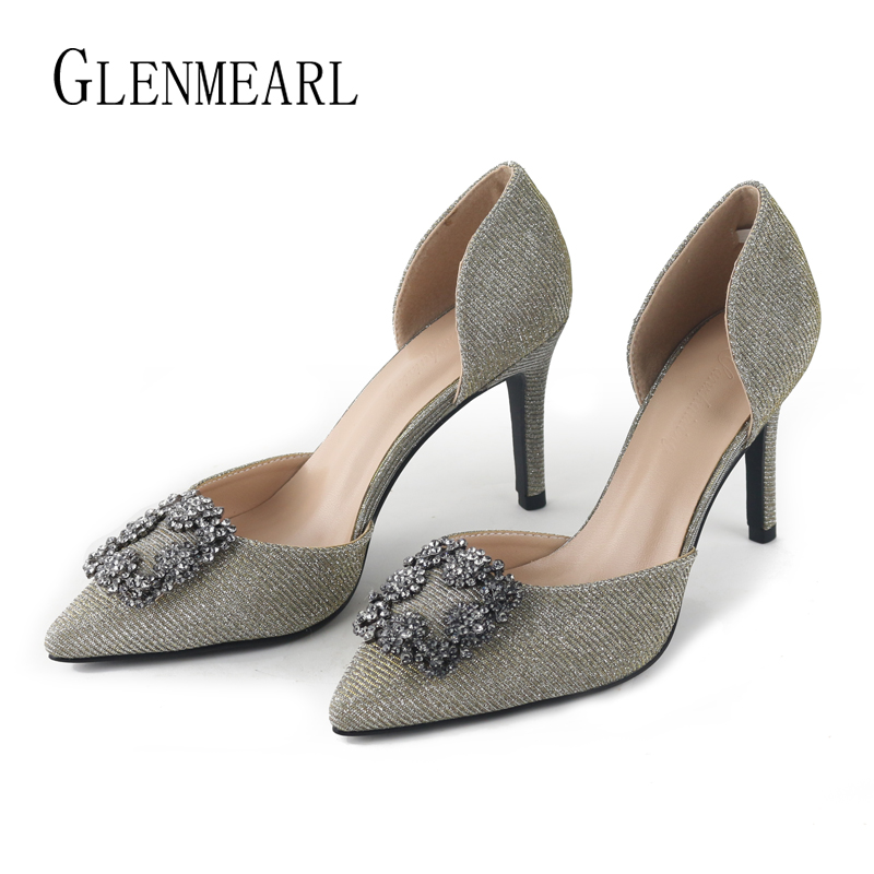 Women Pumps Brand Female High Heels Two Piece Colorful  Metal Decoration Fashion Women Shoes Pointed Toe Casual Shoes 2019 DE