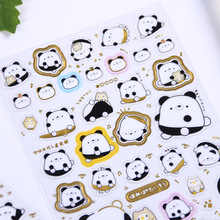 Creative Planar Kawaii Panda Gilding Decorative Stickers Adhesive Stickers Scrapbooking DIY Diary Stationery Stickers Gift цены онлайн