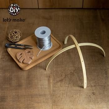 Let's Make 10set Newborn Bell Crib Toy Wood Rattle Bracket Baby Bed Bell Toy Holder Mobile Crib For 0-12 Month Wooden DIY Crafts
