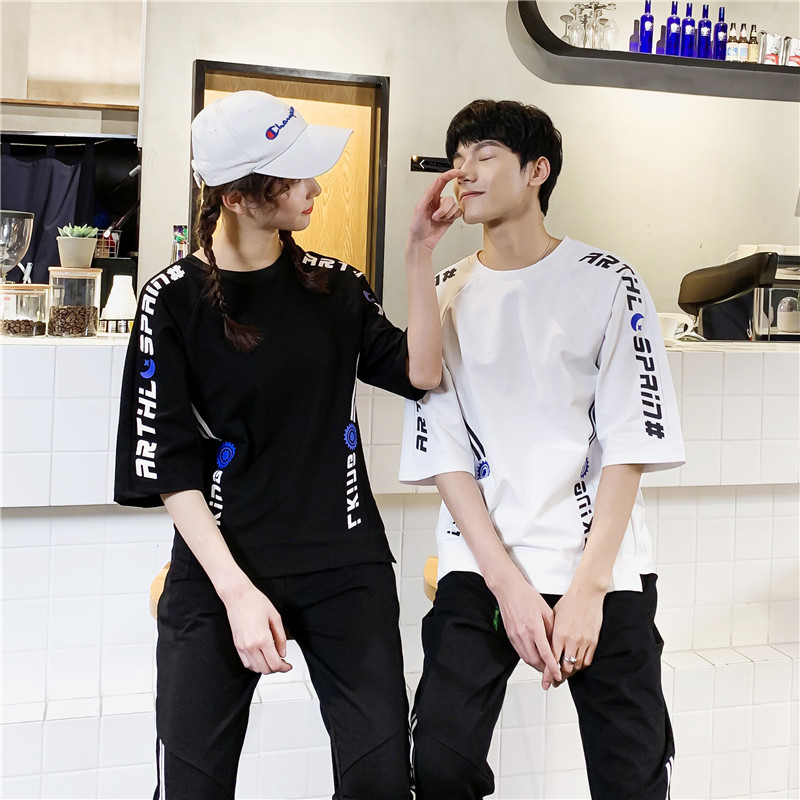 2019 Summer New Products Fashion Casual Men Trend Loose-Fit Printing Short-sleeved T-shirt Capri Pants COUPLE'S Set
