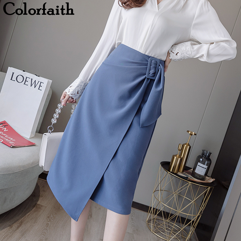Colorfaith 2019 Women Autumn Winter Women Skirts Irregular Knee-Length Midi Elegant Office Lady Minimalist Style Ladies SK5854