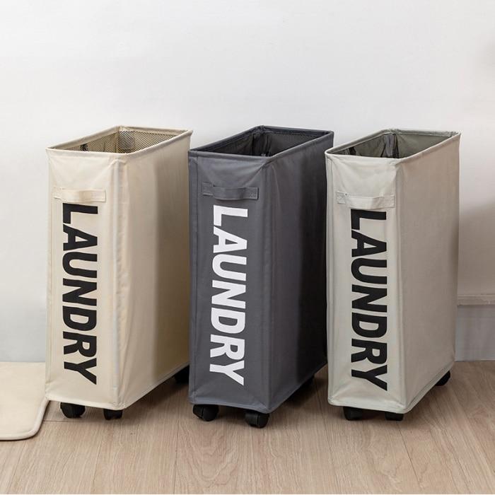 Wheeled Laundry Basket Hamper Rolling Clothes Storage Portable Organizer Bin New