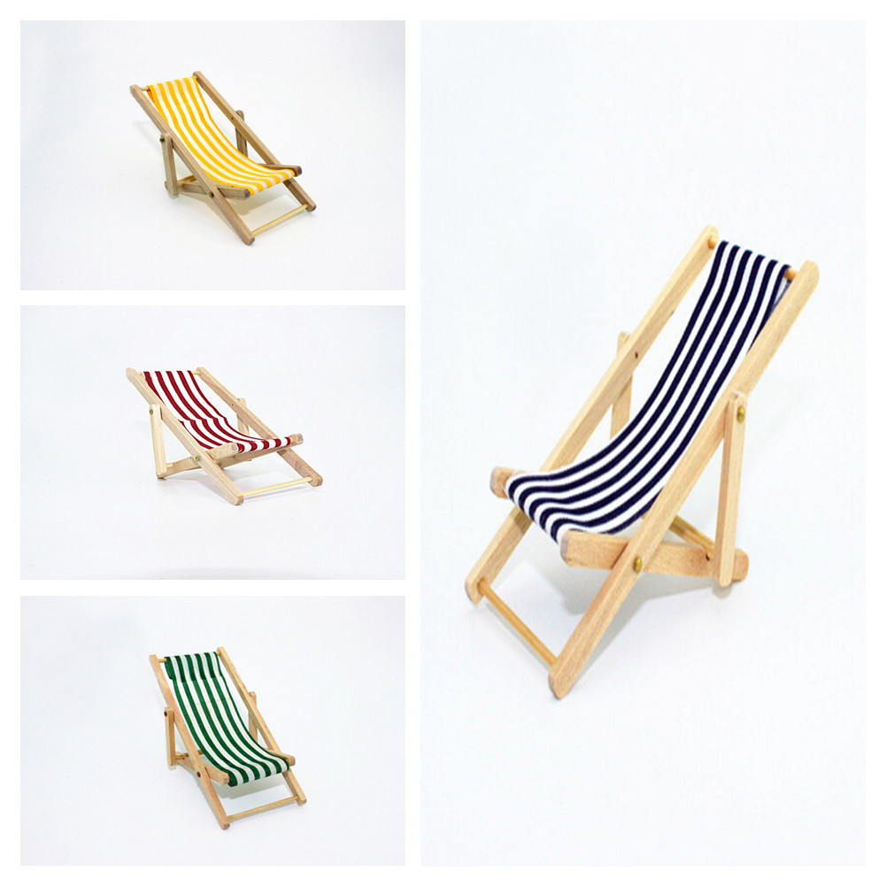 1:12 Scale DIY Foldable Wooden Deckchair Lounge Beach Chair For Lovely Miniature For Dolls House Furniture Toys