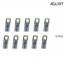 AGLINT 10PCS Goedkope T10 LED Canbus Gloeilampen W5W 5W5 194 168 5050SMD 4Chips Led-lampen CANBUS Deur kaart Lamp wedge gloeilamp 12V(China)