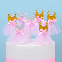 5Pcs Gold Bling Ballerina Skirt Tutus Dress Cake Topper Party Cupcake Flags Decoration Fruits Picks For Theme Event