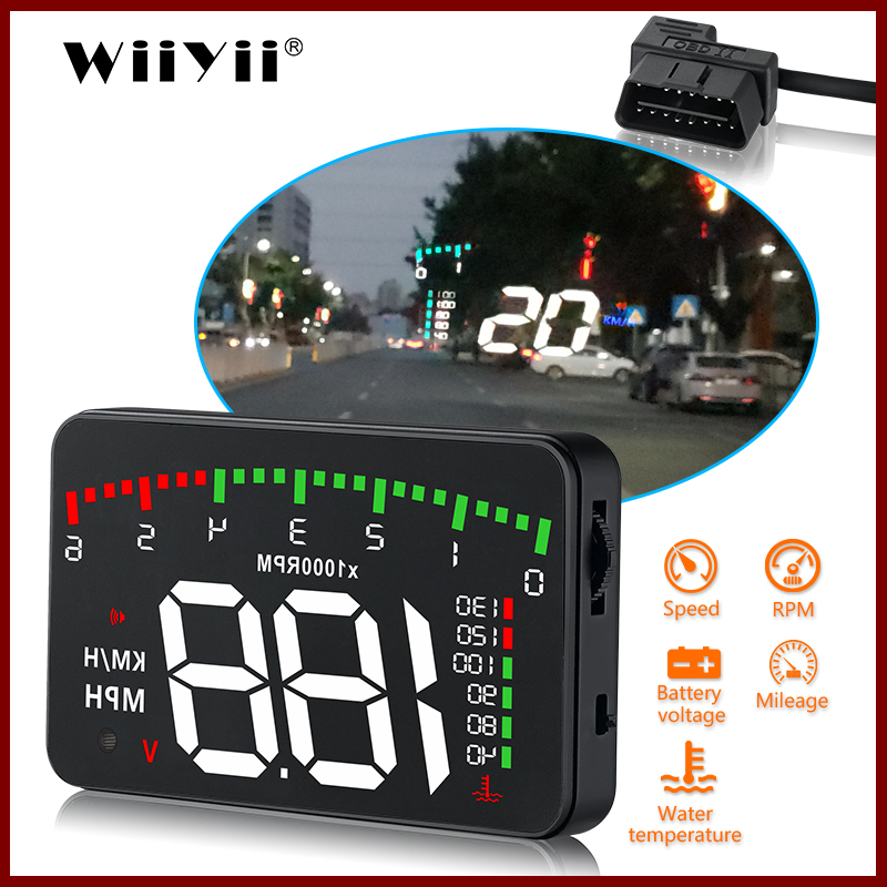 GEYIREN A900 Car HUD OBD RPM Meter Head-Up Display Overspeed Warning System Car Accessories Water Temperature Alarm