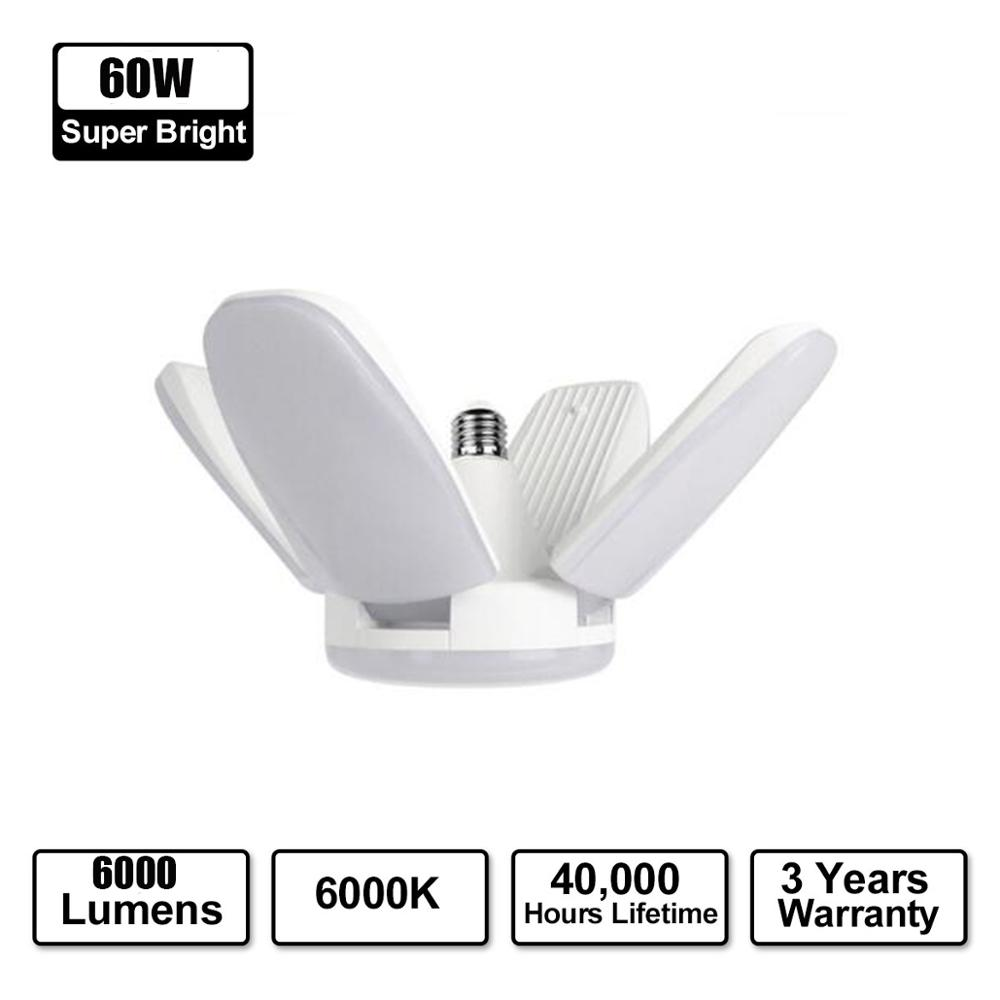 45W 60W E27 Fan Blade LED Light Bulb LED Folding Garage Lamp AC85-265V Adjustable Led E27 Base Garage Light