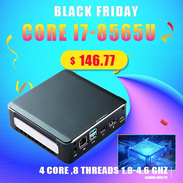 מיני משחק מחשב Core i7 8565U I5 8265U I3 8145U 2 * DDR4 RAM M.2 NVME SSD כיס Nuc מחשב Windows 10 פרו סוג c 4K HDMI2.0 DP