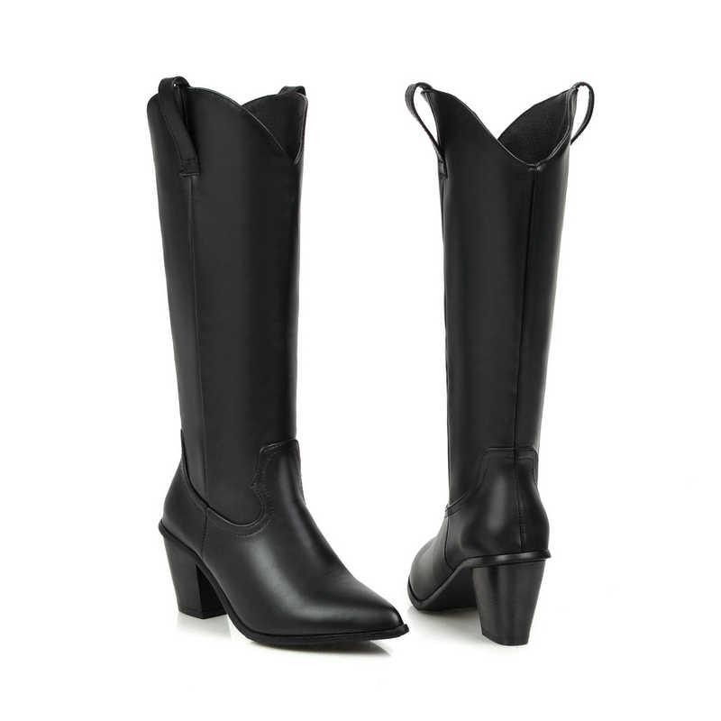Siyah Beyaz Suni Deri Kış Kadın Diz Yüksek Çizmeler Sivri Burun Batı Kovboy Çizmeleri Kadın Blok Yüksek Topuk Uzun çizmeler